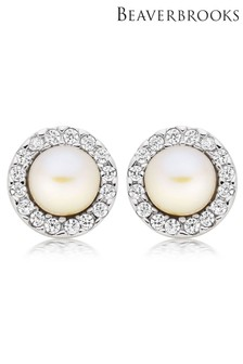 Beaverbrooks Freshwater Cultured Pearl And Cubic Zirconia Earrings