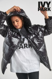 Ivy Park Black Vinyl Quilted Coat