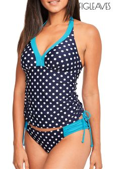 Figleaves Blue Tuscany Spot Underwired Halter Tankini Top