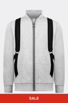 Boys Grey Backpack Print Zip-Up Top