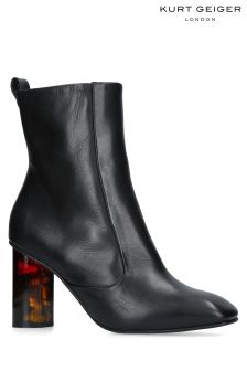 Kurt Geiger London Black Leather Stride Block Heel Boot