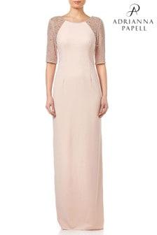 Długa, jasnoróżowa sukienka ze zdobieniami Adrianna Papell