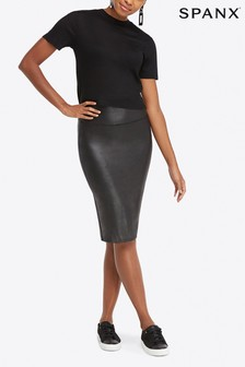 SPANX® Black Faux Leather Pencil Skirt