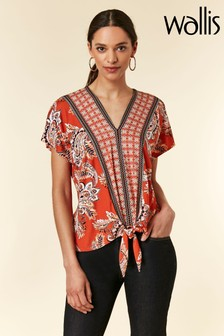 Wallis Orange Mantra Paisley Tie Front Shirt