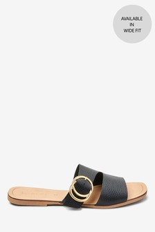 Asymmetric Buckle Mules