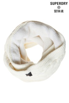 Superdry White Tweed Cable Snood