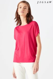 Jigsaw Pink Sleeve Detail Jersey Top