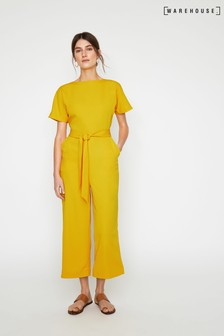 Warehouse Yellow Tie Waist Culotte Jumpsuit