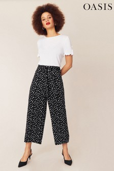 Oasis Black Lois Wide Leg Trousers