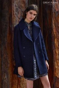 Great Plains Blue Bouclé Double Breasted Coat