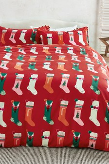 Christmas Stocking Duvet Cover and Pillowcase Set