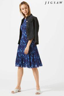 Jigsaw Blue Midnight Garden Bodycon Dress