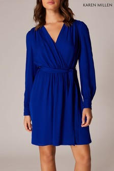 Karen Millen Blue Tuck & Fold Dress
