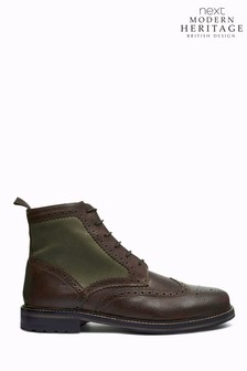 Modern Heritage British Millerain Leather Brogue Boots
