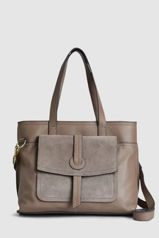 Leather Front Pocket Tote Bag
