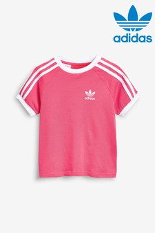 adidas Originals Little Kids Pink 3 Stripe Cali T-Shirt