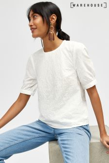 Warehouse White Lauren Bird Embroidered Tee