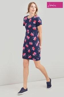 Joules Riviera Gemustertes kurzärmeliges Jersey-Kleid, blau