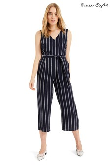Phase Eight Blue Jennie Linen Stripe Jumpsuit