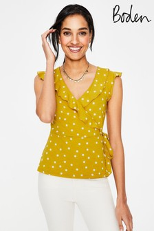 Boden Yellow Jodie Jersey Wrap Top