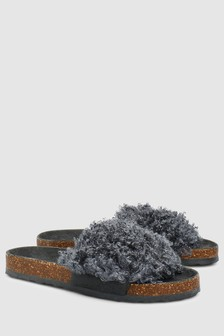 Curly Faux Fur Sliders