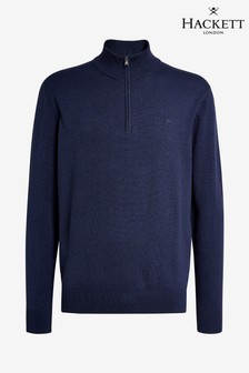 Hackett Blue Cotton Silk Half-Zip Sweater