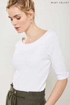 Mint Velvet White Skinny Rib Bardot Top