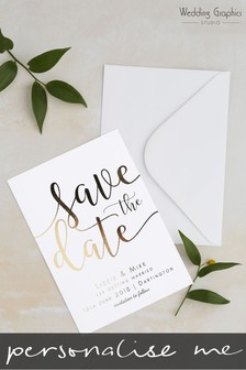 Personalised Script Foil Save The Date Card by Wedding Graphics