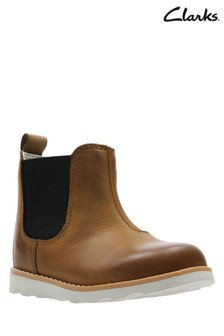 Clarks Tan Leather Crown Halo Gusset Toddler Ankle Boot
