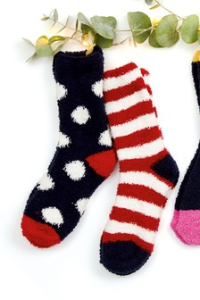 Candy Cane Embroidered Bed Socks Two Pack