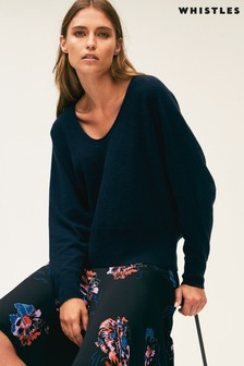 Whistles Navy Relaxed Cashmere Sweater