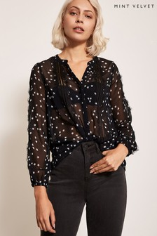 Mint Velvet Black Insert Star Print Top
