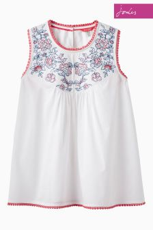 Joules Bright White Romella Top