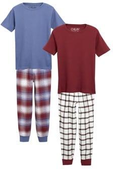 Lot de deux pyjamas en tissu à carreaux (3-16 ans)