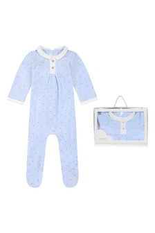 Boys Blue Velour Spotted Babygrow