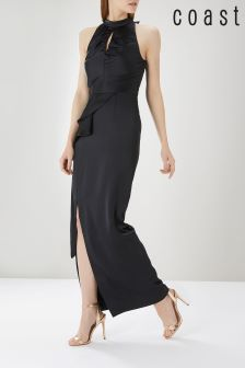 Coast Black Piertro Rouched Maxi Dress