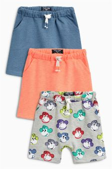All Over Print Monkey Shorts Three Pack (3mths-6yrs)