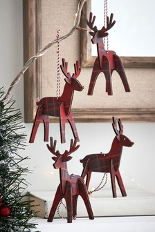 Set of 4 Stag Baubles