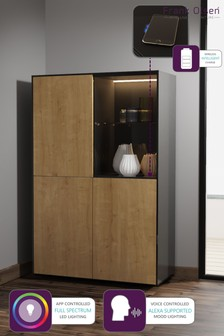 Frank Olsen Smart LED Black and Oak Display Cabinet