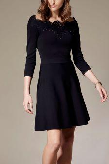 Karen Millen Black Studded Lace Bardot Knit Dress