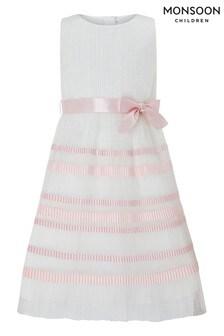 Monsoon Lydia Ivory Pleat Stripe Dress