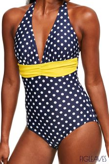Figleaves Blue Tuscany Spot Tummy Control Swimsuit