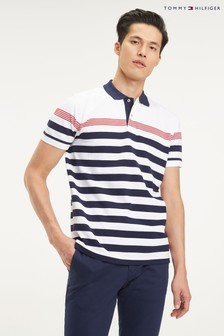Tommy Hilfiger White Striped Polo