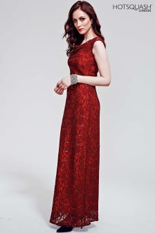 HotSquash Burgundy Cowl Neck Lace Maxi Dress
