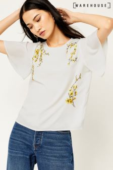 Warehouse Ivory Embroidered Sweetpea Top