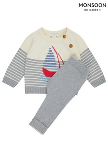 Monsoon Grey Newborn George Knitted Boat Set