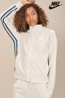 Nike White Poly Knit Full Zip Hoody