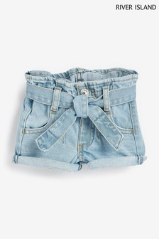 River Island Blue MG Diamond Paperbag Shorts