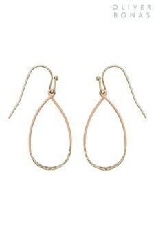 Oliver Bonas Pink Hicks Textured Teardrop Earrings