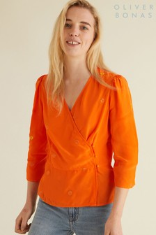 Oliver Bonas Orange Embroidered Wrap Top